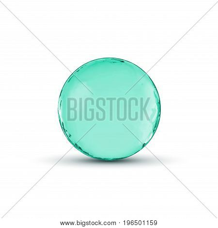 Vector glass sphere ball design. Glossy circle or bubble with shadow. Abstract 3d illustration.