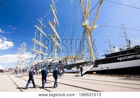THE TALL SHIPS RACES KOTKA 2017. Kotka, Finland 16.07.2017. Barque Kruzenshtern and sailors in the port of Kotka Finland