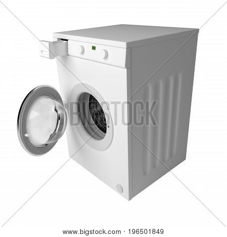 Domestic Washing Machine Ready To Wash Dirty Clothes Isolated Over White