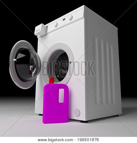 Laundry Washing Machine With Detergent Ready To Wash Dirty Clothes
