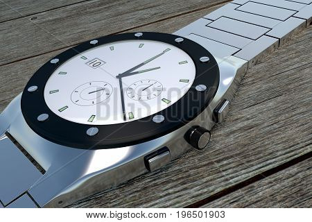 Side View Of A Luxury Stainless Steel Wristwatch