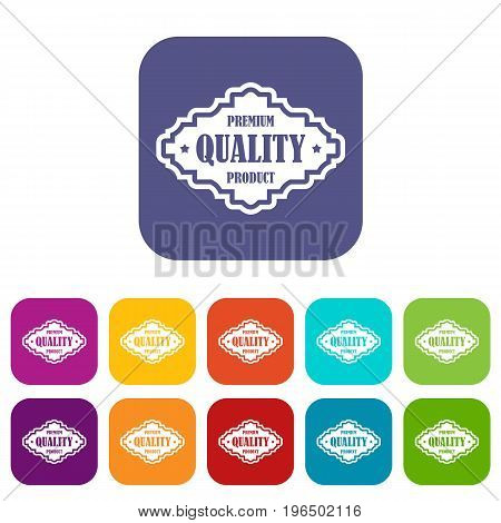 Premium quality product label icons set vector illustration in flat style in colors red, blue, green, and other