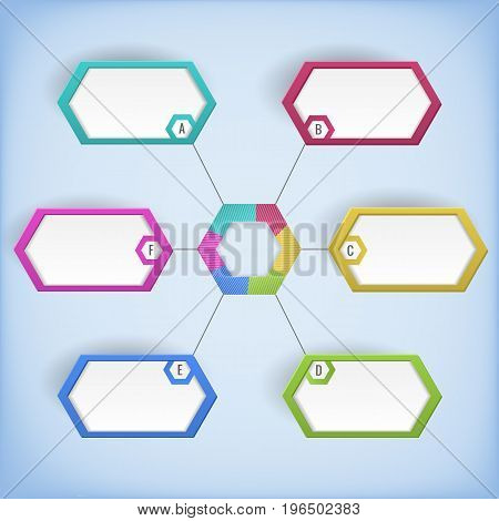 Symmetrical colorful business diagram template with black text fields on light blue background flat vector illustration