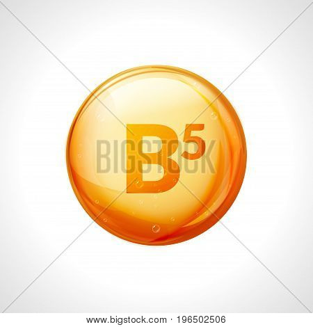 Vitamin b5 pill icon. Pantothenic acid nutrition care. Gold drop essence. Isolated golden vector symbol of b5 vitamin.