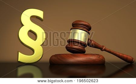 Judiciary law and legal system concept with a golden paragraph symbol and a wooden gavel on a desktop 3D illustration.