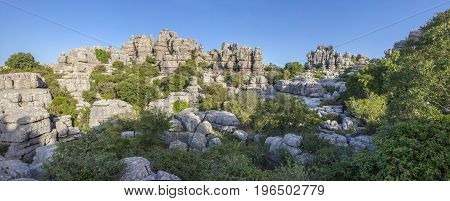 Impressive karst landscapes at Torcal de Antequera Malaga Spain. Panoramic view