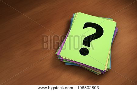 Question mark sign and symbol on a paper notes stack business and customer faqs concept 3D illustration.