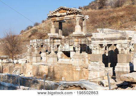 Rich People Roman House Ruins With Stone Columns Row In Ephesus Archaeological Site In Turkey