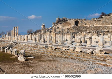 Panorama Roman Main Road With Stone Columns Row In Ephesus Archaeological Site In Turkey