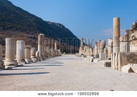 Roman Main Road With Stone Columns Row In Ephesus Archaeological Site In Turkey