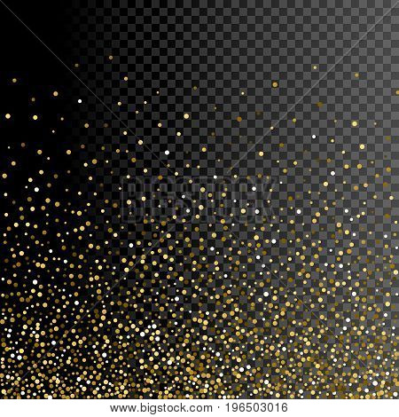 Sparkle greeting card background design. Glitter gold decoration on transparent. Golden shiny particles for celebration christmas or new year. Holiday festive confetti.