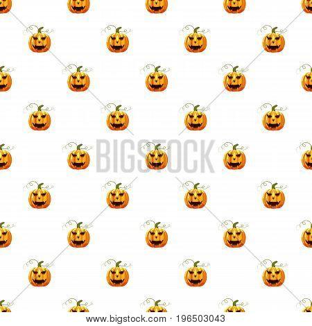 Halloween pumpkin pattern seamless repeat in cartoon style vector illustration
