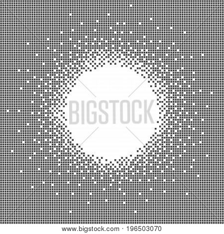 Grey pixel art banner with place and space to insert your text or image. Black and white abstract vector.
