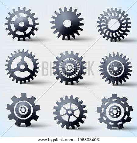 Steel gears realistic icons set flat isolated vector illustration