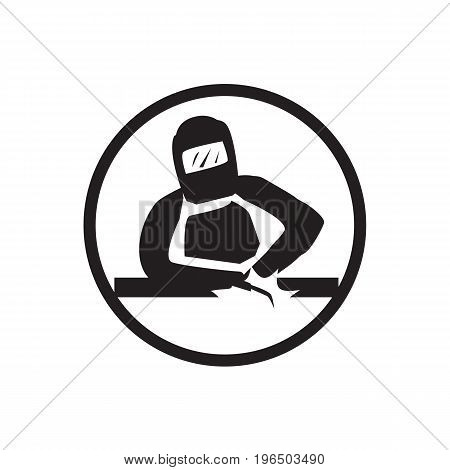 ironworker welding a metal piece icon. isolated on white background.