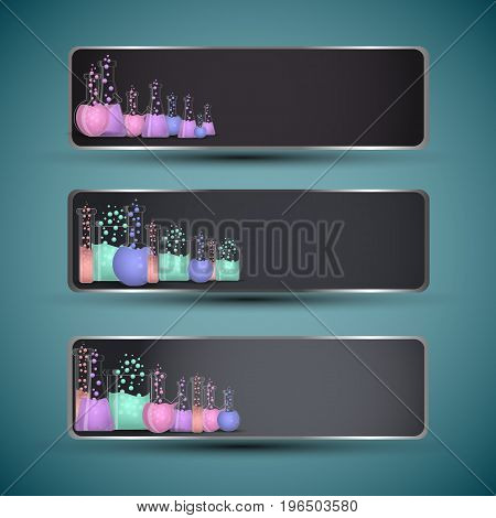 Science horizontal banners set with bottles realistic isolated vector illustration