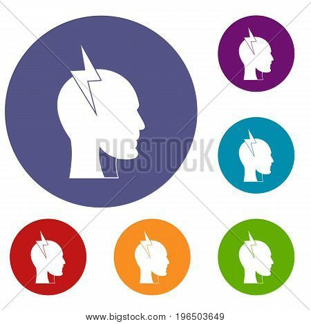 Lightning bolt inside head icons set in flat circle red, blue and green color for web
