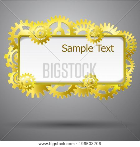 Industrial abstract background with place fot text and gears vector Illustration