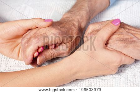 Old and young holding hands on lwhite background, closeup. Care is at home of elderly