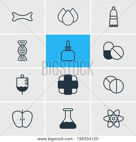 Editable Pack Of Antibiotic, Pharmaceutical, Genome And Other Elements. Vector Illustration Of 12 Health Icons.