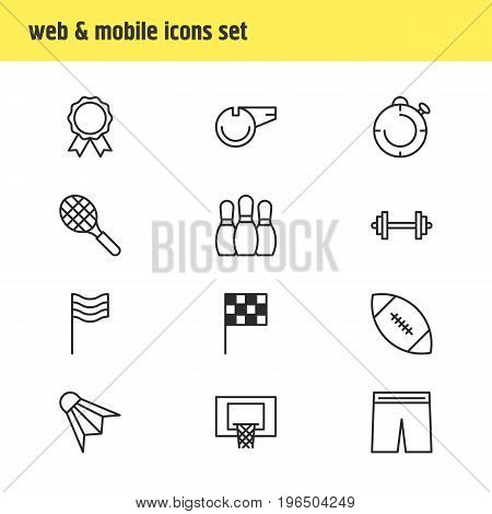 Editable Pack Of Basketball, Barbell, Blower And Other Elements. Vector Illustration Of 12 Fitness Icons.