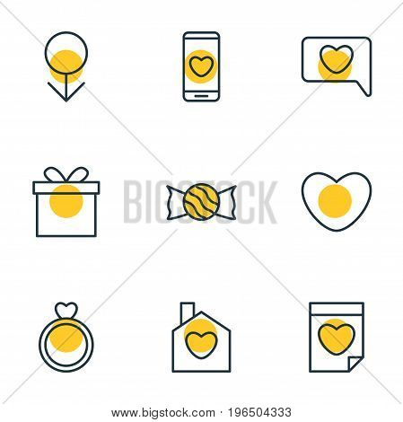 Vector Illustration Of 9 Love Icons. Editable Pack Of Valentine, Smartphone, Male And Other Elements.