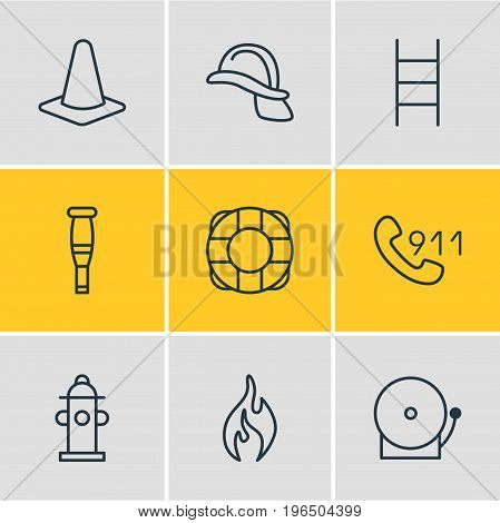 Editable Pack Of Lifesaver, Taper, Burn And Other Elements. Vector Illustration Of 9 Necessity Icons.