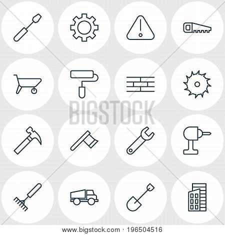 Vector Illustration Of 16 Industry Icons. Editable Pack Of Apartment, Turn Screw, Electric Screwdriver And Other Elements.