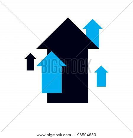 Vector upward trend of business development. Corporate abstract logo boost up arrow. Company increasing concept.