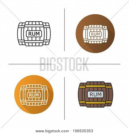 Rum wooden barrels icon. Flat design, linear and color styles. Alcohol drink barrels. Rum isolated vector illustrations