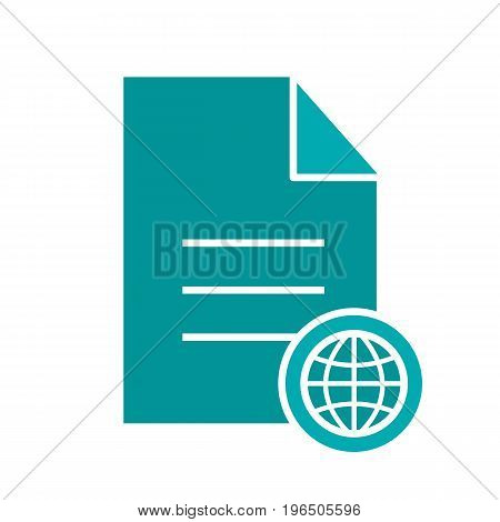 Web document glyph color icon. Document with globe model. Silhouette symbol on black background. Negative space. Vector illustration