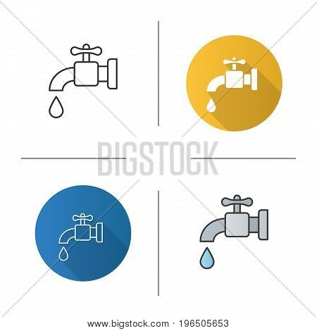 Water resources icon. Flat design, linear and color styles. Faucet and water drop. Isolated vector illustrations