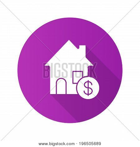 Real estate market flat design long shadow glyph icon. Rental house with dollar sign. Vector silhouette illustration