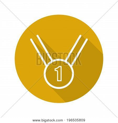 Gold medal flat linear long shadow icon. 1st place medal. Vector outline symbol