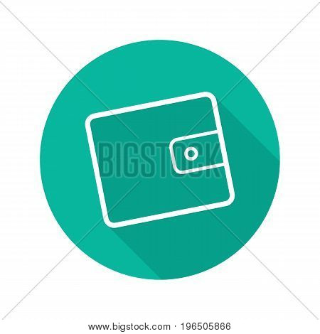 Wallet flat linear long shadow icon. Men's purse. Vector outline symbol