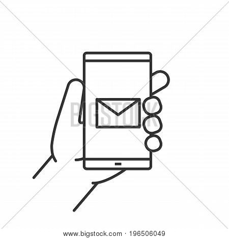 Hand holding smartphone linear icon. Thin line illustration. Smart phone sms message contour symbol. Vector isolated outline drawing