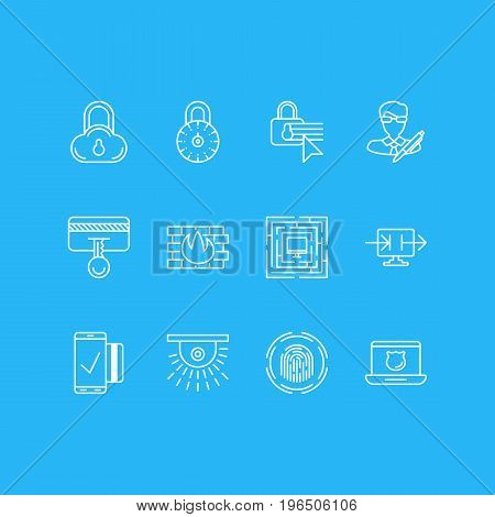 Vector Illustration Of 12 Protection Icons. Editable Pack Of System Security, Safety Key, Camera And Other Elements.