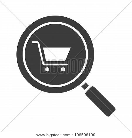 Supermarket search glyph icon. Silhouette symbol. Magnifying glass with shopping cart. Negative space. Vector isolated illustration