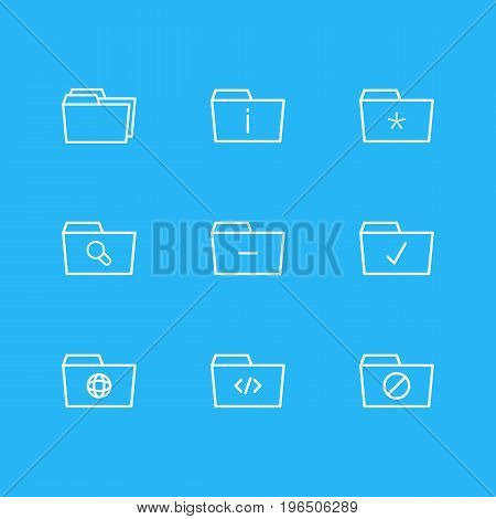 Editable Pack Of Significant, Done, Locked And Other Elements. Vector Illustration Of 9 Dossier Icons.