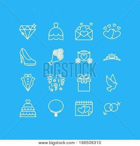 Editable Pack Of Love, Bridegroom Dress, Patisserie And Other Elements. Vector Illustration Of 16 Wedding Icons.