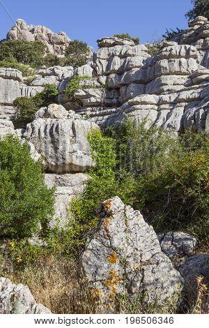 Karstic rock formations at Torcal de Antequera National Park Malaga Spain