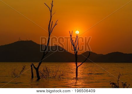 Sunset in Bang Phra reservoir Chon Buri Thailand