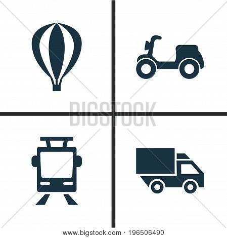Transport Icons Set. Collection Of Van, Skooter, Streetcar And Other Elements