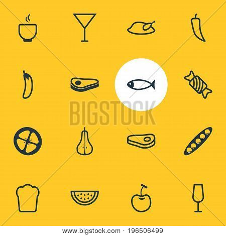 Editable Pack Of Berry Type, Love Apple, Grill And Other Elements. Vector Illustration Of 16 Eating Icons.