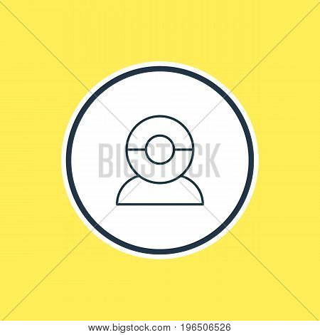 Vector Illustration Of Web Camera Outline. Beautiful Hardware Element Also Can Be Used As Video Chat Element.