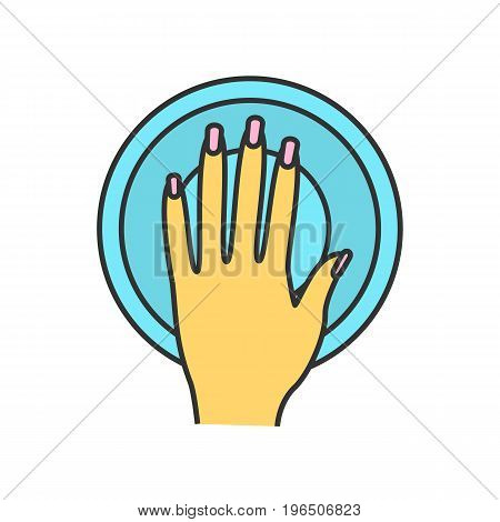 Manicure bowl color icon. Woman's manicured hand with bowl. Isolated vector illustration