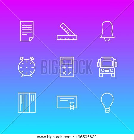 Vector Illustration Of 9 Science Icons. Editable Pack Of Bulb, Jingle, Bookshelf And Other Elements.