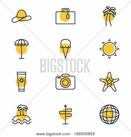 Editable Pack Of Island , Photo Apparatus, Sunny Elements. Vector Illustration Of 12 Summer Icons.