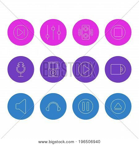 Editable Pack Of Start, Rewind, Lag And Other Elements. Vector Illustration Of 12 Music Icons.