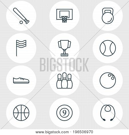 Vector Illustration Of 12 Athletic Icons. Editable Pack Of Baseball, Cue, Weight And Other Elements.